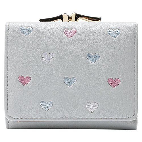 Tiffany Heart Bag (SODIAL(R) Grey White PU leather lady short paragraph candy color creative buckle flip love purse purse wallet (heart position color random) 10.5 9.5 2.5cm)