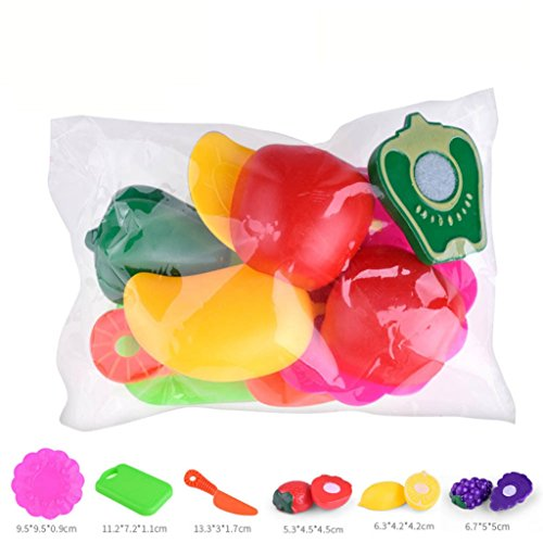 African Play Foods (Sinfu 1Set Baby Toy colorful fruit vegetable sliced Food Toy Cutting Set Gift Toy Play House (D))