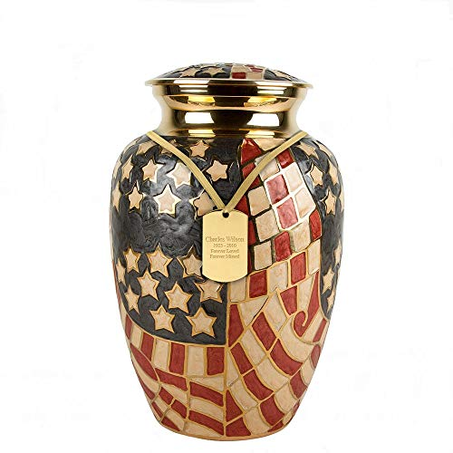Perfect Memorials Custom Engraved Large Old Glory Brass Cremation Urn