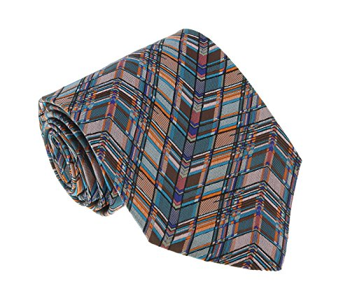 - Missoni U8008 Turquoise/Orange Herringbone 100% Silk Tie for mens