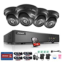 ANNKE Surveillance System 8CH 1080N 4-in-1 DVR with (4) 960P Hi-Resolution Weatherproof Indoor/Outdoor CCTV Cameras with Remote Viewing and Email Alert-1TB  HDD