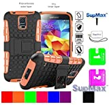 Samsung S5 Case,Galaxy S5 Cover Case,SupMax™ *Hybrid Rubberized* *TPU+PC* Scratchproof Shock proof Skidproof Impact Resistant Hard Shell With Kickstand [Gifts] for Samsung Galaxy S5 (Orange)