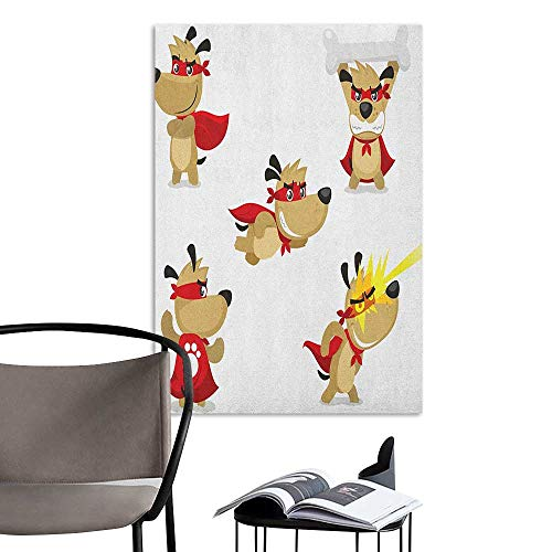 Scenery Wall Sticker Dog Superhero Puppy with Paw Costume and Mystic Powers Laser Vision Supreme Talents Red Cream White Men's Room Wall W8 x -