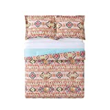 D.I.D. 3 Piece Girls Green Teal Blue Pink Orange Southwest Comforter King Set, Native American Bedding Bohemian Aztec Indian Pattern Soutwestern Lodge Yellow Red Black, Reversible Cotton Polyester