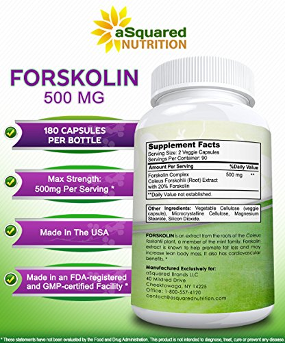 100% Pure Forskolin 500mg Max Strength 180 Capsules, Forskolin Extract Supplement for Weight Loss Fuel, Coleus Forskohlii Root 20% Forskolin Diet Pills, Belly Buster Fat Burner 2x Slim Trim Lose