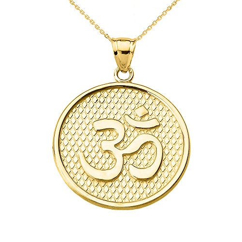 Hindu Yoga 10k Yellow Gold Om/Ohm Engravable Round Pendant Necklace With 16