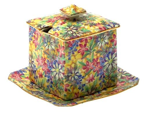 c1936 Grimwades Royal Winton Wild Flowers Jam Pot with under saucer - chintz 3149 pattern
