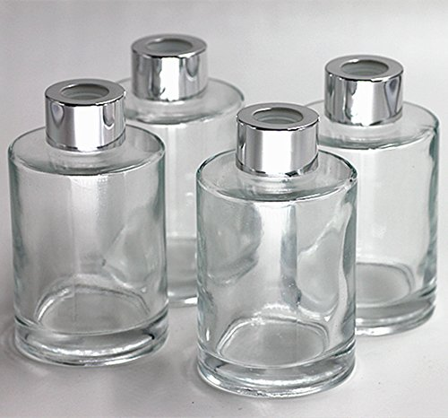 Feel Fragrance Glass Diffuser Bottles Diffuser Jars with Caps Set of 4 – 4.2 inches High, 120ml 4.06 ounce. Fragrance Accessories Use for Diy Replacement Reed Diffuser Sets. Square Glass Diffuser
