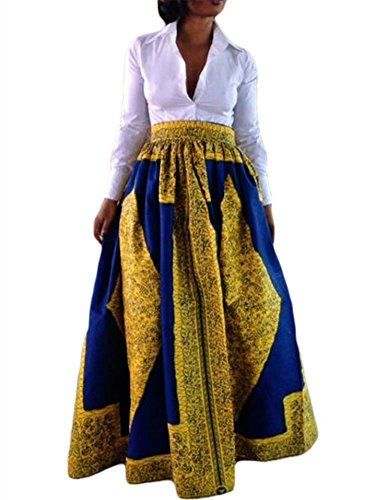 VIGVOG Women's Ethnic Plus-Size African Print Pull-on Maxi A-line Skirt (L, LC65008-7)