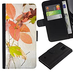 Be Good Phone Accessory // Caso del tirón Billetera de Cuero Titular de la tarjeta Carcasa Funda de Protección para Samsung Galaxy S5 Mini, SM-G800, NOT S5 REGULAR! // Autumn Leaves