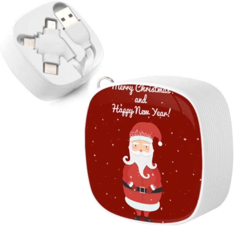 Multi Micro USB Charging Cable Jolly Cartoon Santa Clause Christmas New Multi 3 in 1 Retractable Charging Multi USB Cable with Micro USB//Type C Compatible with Cell Phones Tablets and More