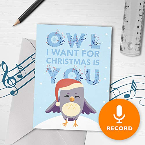 Unique Christmas Card With Music | Musical Christmas Card, Christmas Musical Greeting Card, Recordable Holiday Card 00233 (120 Second Recordable) (Voice Recordable Cards Christmas)