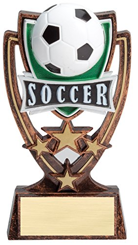 Etch Workz Customize Award - Soccer - STS113 Series - Soccer Four Star Resin Trophy - Engraved Gold Plated - Personalized Free