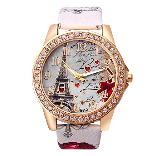 Hessimy Womens Fashion Watches New Ladies Business Bracelet Watch Luxury Crystal Sport Casual Leather Band Retro Floral Print Digital Analog Quartz Wrist Watches for Women On Sale (White-3)
