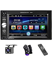 UNITOPSCI Car Multimedia Player Double Din, Bluetooth Audio and Calling, 6.2 Inch LCD Touchscreen Monitor, MP5 Player, WMA, USB, SD, Auxiliary Input, FM Radio Receiver, Rear View Backup Camera