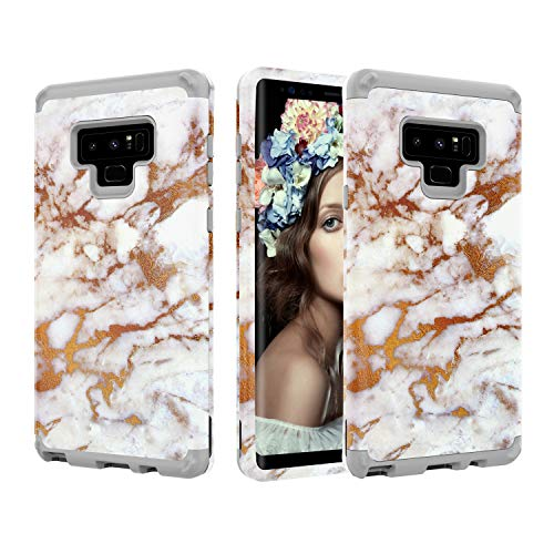 Galaxy Note 9 Case, UZER Marble Series Shockproof 3 in 1 Soft Interior Silicone Bumper&Hard Shell PC Back Cover Bumper Anti-Scratch Full-Body Protective Case for Samsung Galaxy Note 9 6.4