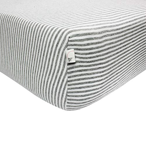 - Burt's Bees Baby - Fitted Crib Sheet, Boys & Unisex 100% Organic Cotton Crib Sheet For Standard Crib and Toddler Mattresses (Heather Grey Thin Stripes)