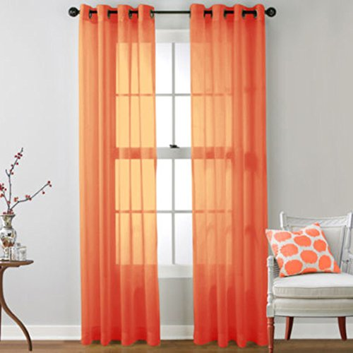 Luxsea Window Curtains Metal Eyelet Voile Panel Window Screening Solid Sheer ()