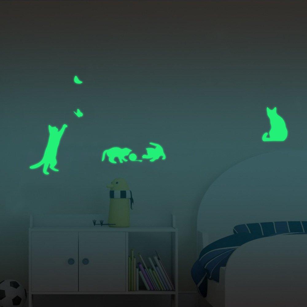 【ufengke】 4-pcs いたずら猫、蝶壁飾り、蛍光ステッカーいたずら猫、蝶壁飾り、蛍光ステッカー リビングルーム、ベッドルームの取り外し可能な壁のステッカー 壁画 B01GOP6WW4