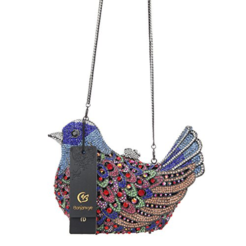 Bonjanvye Glitter Blue Rhinestone Girls For Clutch Bird Evening Bag Purses pgP4qa