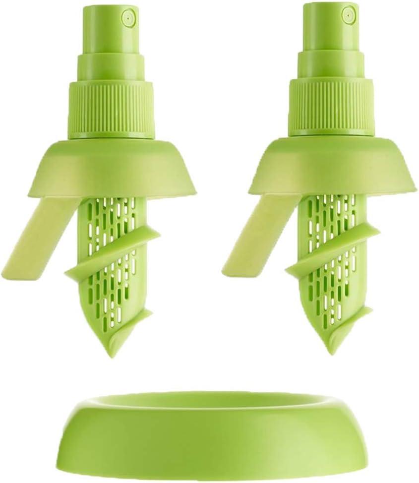 "Lemon Sprayer Gadget, Green Citrus Sprayer Set, 2pcs, 3.9"", Holder Plate, Lime Juicer Extractor for Vegetables, Salads, Seafood and Cooking Fashionable Kitchen Gadget"