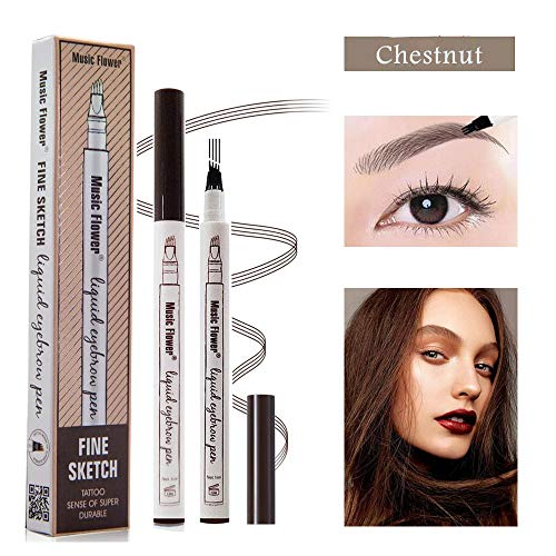 Yuxuan Eyebrow Tattoo Pen Microblading Eyebrow Pencil with a Micro-Fork Tip Applicator Creates Natural Looking Brows Effortlessly and Stays on All Day(1 pc/set,Chestnut)