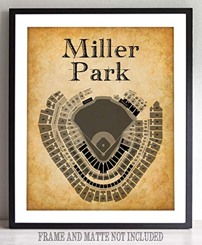 Miller Park Stadium Baseball Seating Chart - 16x20 Unframed Art Print - Great Sports Bar Decor and Gift for Baseball - Personalized Stadium Print
