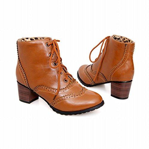 Latasa Kvinna Tillfälliga Spets-up Mitten Chunky Häl Ankel Höga Oxford Boots Gulbrun