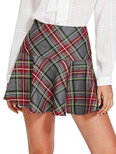 Verdusa Women's High Waist A-Line Pleated Plaid Skirt multicolored L