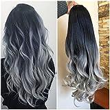 24 Inches Long Wavy Curly Clip in Ombre 3/4 Half Head Wig DL (Wavy-Black to grey)