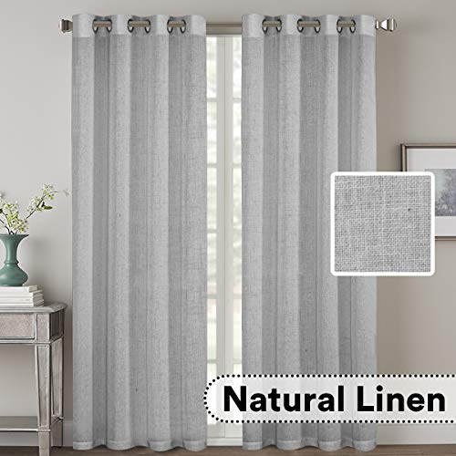 H.VERSAILTEX 2 Pack Ultra Luxurious High Woven Linen Elegant Curtain Panels Light Reducing Privacy Panels Drapes, Nickel Grommet Curtain Set, Extra Long 52x108-Inch, Dove (Inch Drapery Panels 108)
