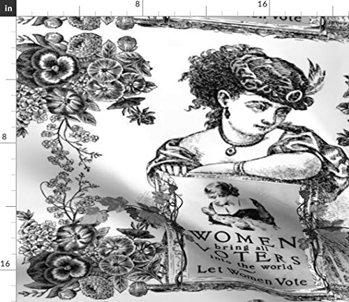 Spoonflower Women Voters Toile Fabric - Black Women's Suffrage Vote Election Vintage Victorian Rights Antique Print on Fabric by The Yard - Denim for Sewing Bottomweight Apparel Home Decor Upholstery