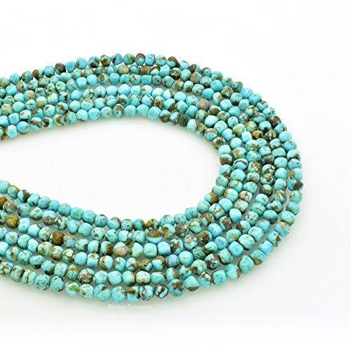 (Bluejoy Genuine Natural American Turquoise Free-Form Round Nugget Bead 16 inch Strand for Jewelry Making)