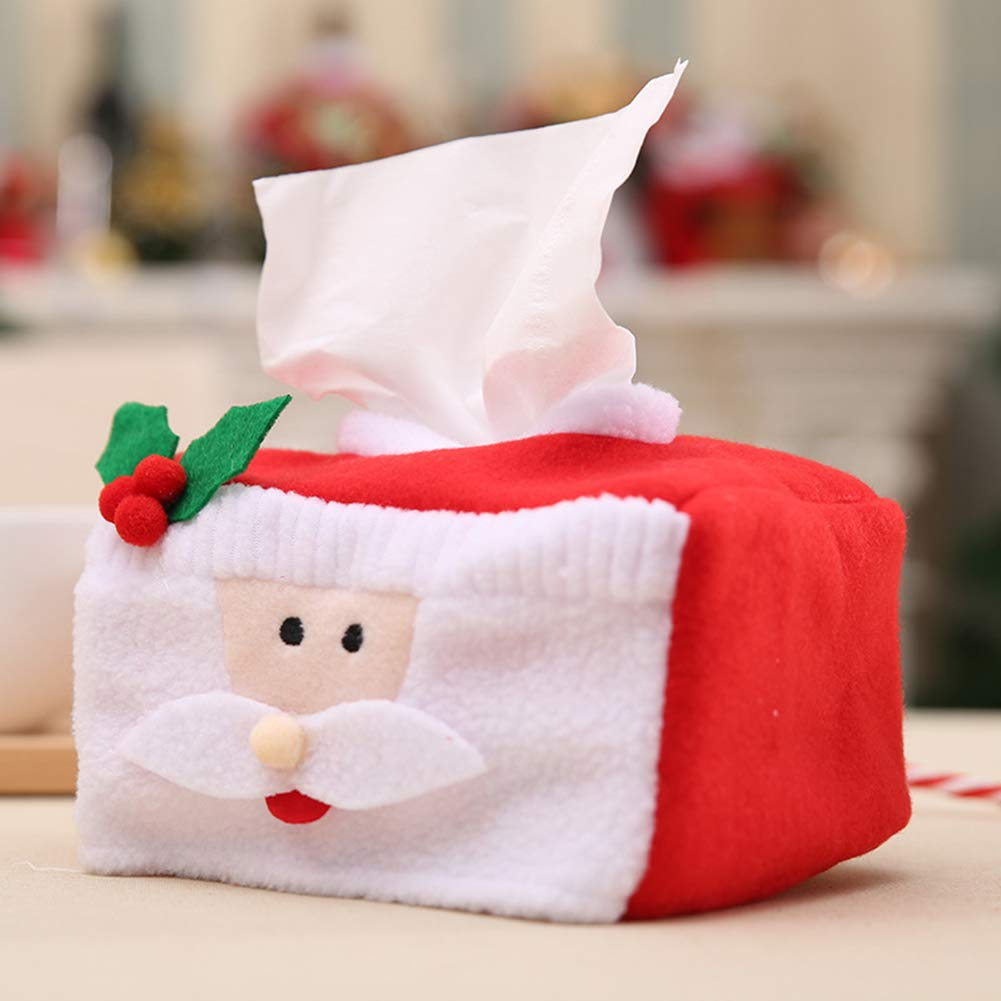 Kuizhiren1 Papiert/ücherbox Aufbewahrungsbeh/älter Taschentuchbox Santa Claus* Taschentuchbox niedlicher Weihnachtsmann Schneemann Weihnachten Santa Claus* Taschentuch-Box Party-Tischdekoration
