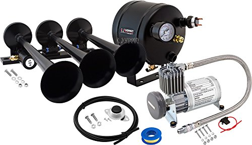 Vixen Horns Loud 149dB 3/Triple Black Trumpet Train Air Horn with 0.5 Gallon Tank and 150 PSI Compressor Full/Complete Onboard System/Kit VXO8805/3118B