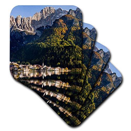 3dRose Village Alleghe Below The Dolomites, Veneto, Italy Ceramic Tile Coasters