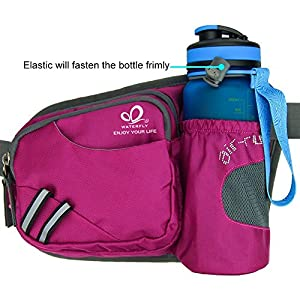 WATERFLY Hiking Waist Bag Can Hold iPhone6 Plus 5.5 inch Gear with Water Bottle Holder / Funny Running Belt Bum Bag for Ridding Dog Walking