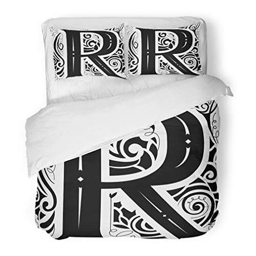 Emvency Bedding Duvet Cover Set Twin (1 Duvet Cover + 1 Pillowcase) ABC of Vintage Monogram Featuring The Letter R Accent Alphabet Black Cartoon Classic Hotel Quality Wrinkle and Stain Resistant]()