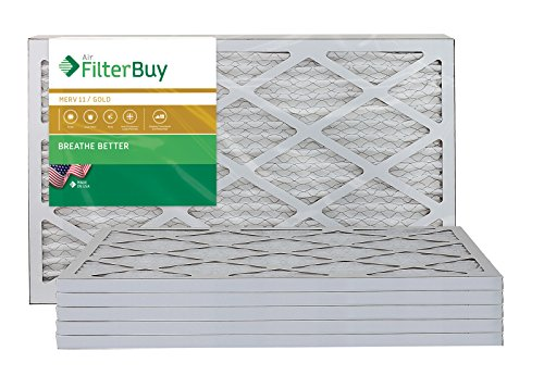 AFB Gold MERV 11 14x27x1 Pleated AC Furnace Air Filter. Pack of 6 Filters. 100% produced in the USA.