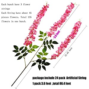 U'Artlines 24 Pack 3.6 Feet/Piece Artificial Fake Wisteria Vine Ratta Hanging Garland Silk Flowers String Home Party Wedding Decor Extra Long and Thick (24, Pink) 5