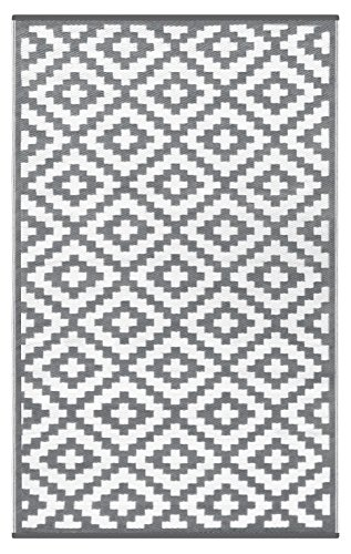 Lightweight Outdoor Reversible Plastic Nirvana Rug (3 X 5, Grey / White) (Outdoor Rugs For Patios)