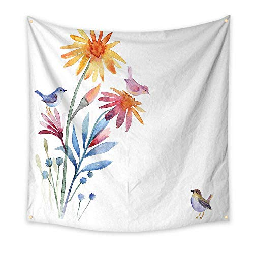 Watercolor Bedroom Tapestry Springtime Flowers with Birds Unusual Color Scheme Brush Effect Room Tapestry Slate Blue Amber Levander 55W x 55L Inch