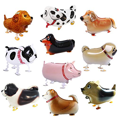 Party Balloons Animals Balloon Dogs Pet Balloons Party Decorations Birthday Balloon Large 3D Helium Walking Animal Balloon Gift 10 Pack (9 Dogs +1 Pig) for Kids,All in Ánimo Balloon -