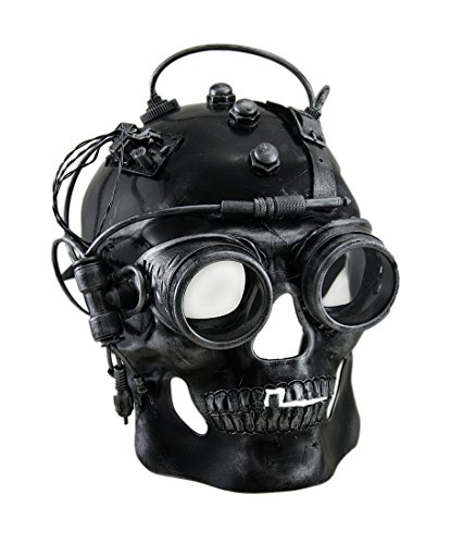 Steampunk Cyborg Costume (Zeckos Cyborg Skull Metallic Finish Steampunk Skull with Goggles Mask)