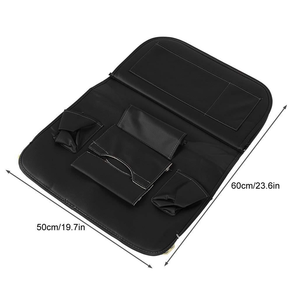 Car Seat Organizer - Multi-Purpose Leather Backseat Organizer PU Leather Storage Organizer Tray Pouch 2pcs Black by Delaman (Image #8)