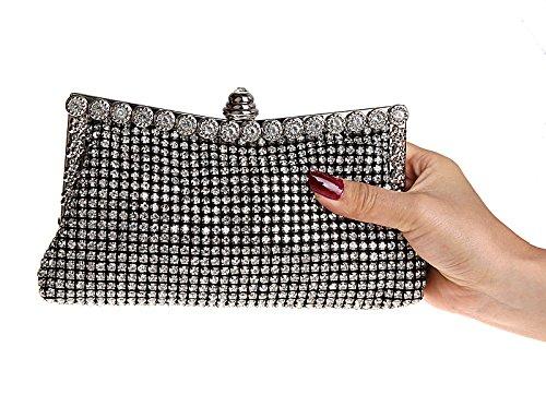 KAXIDY Damen Abendtasche Handtasche Damentasche Unterarmtasche Strassbesatz Handtasche Diamanten Schwarz XdDZXCI