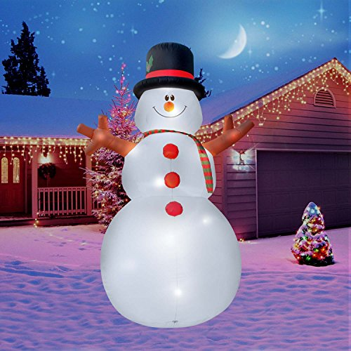 Inflatable Ornaments Christmas (Holidayana Christmas Inflatable Giant 15 Ft. Snowman Inflatable Featuring Lighted Interior/Airblown Inflatable Christmas Decoration With Built In Fan And Anchor Ropes)