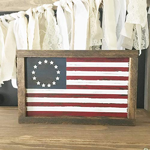 (CELYCASY Betsy Ross American Flag - Rustic American Flag - Framed American Flag)