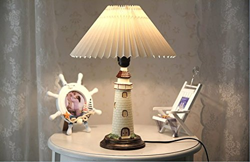 Kiven Nautical Lighthouse Table Lamp Large Cape Hatteras Desk Light with Cloth Shade (White)