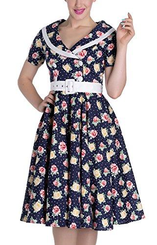 Kleid Swingkleid Emma mit Hell Floral Damen Rosen Rosen Dunkelblau Bunny x4qwpHO